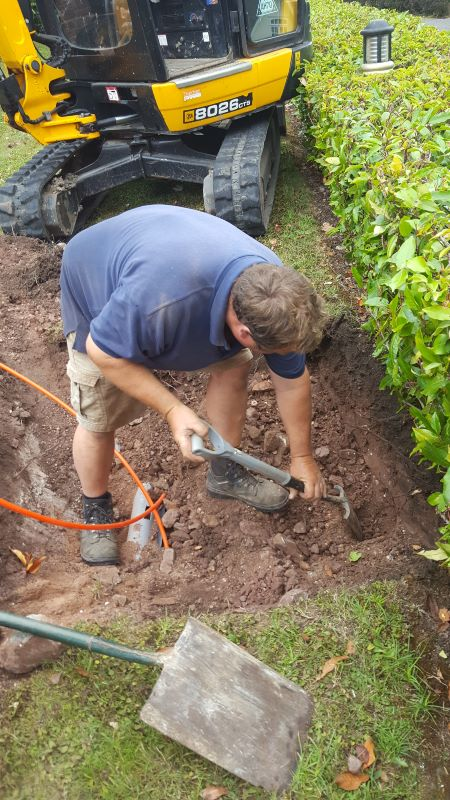 Digging to locate ducts